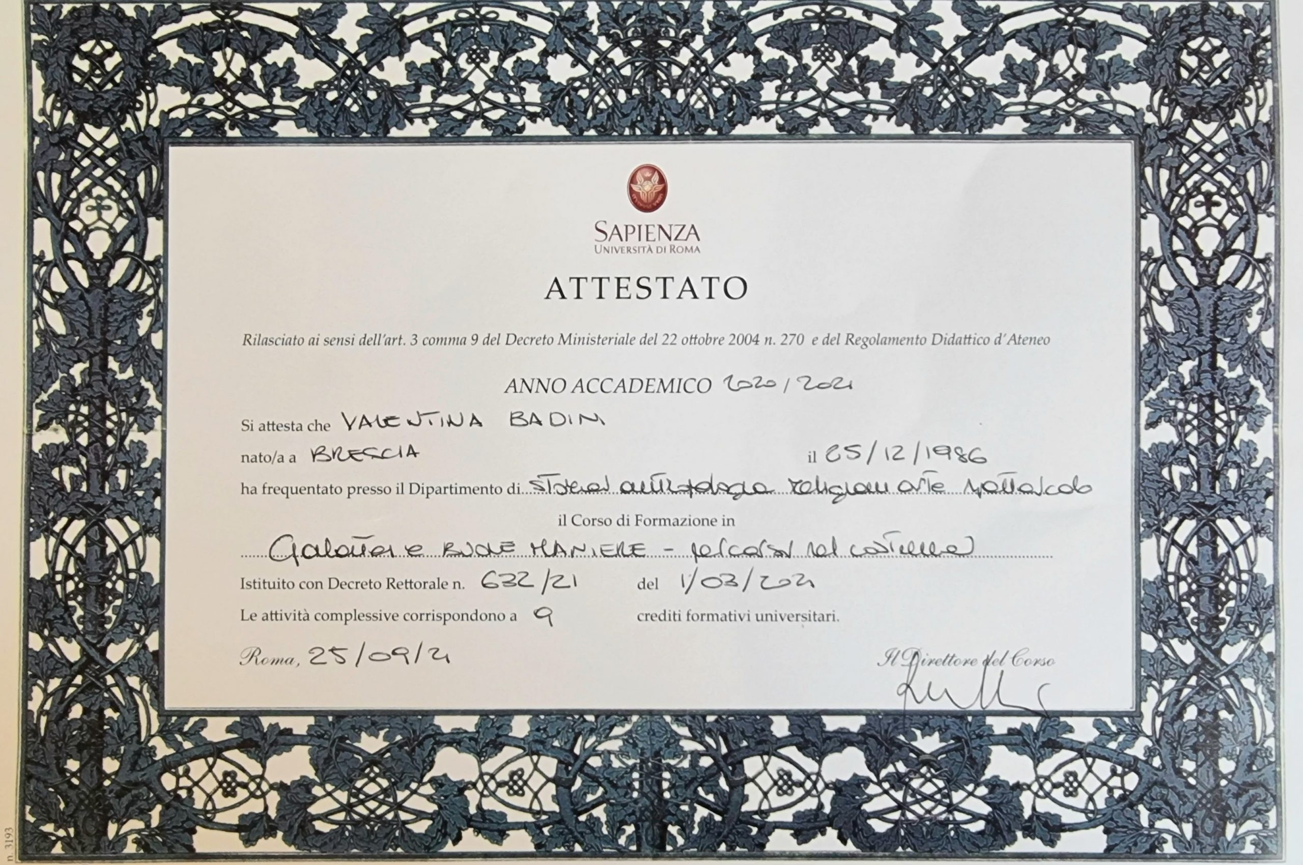 certificazione galateo